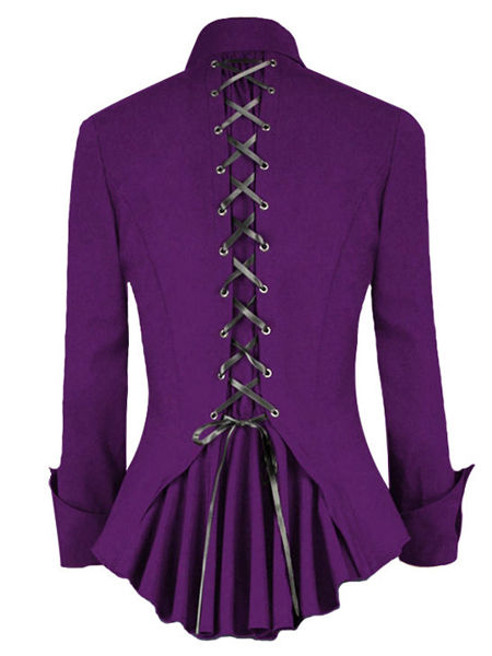 Purple Gothic Jacket Top with Corset Back