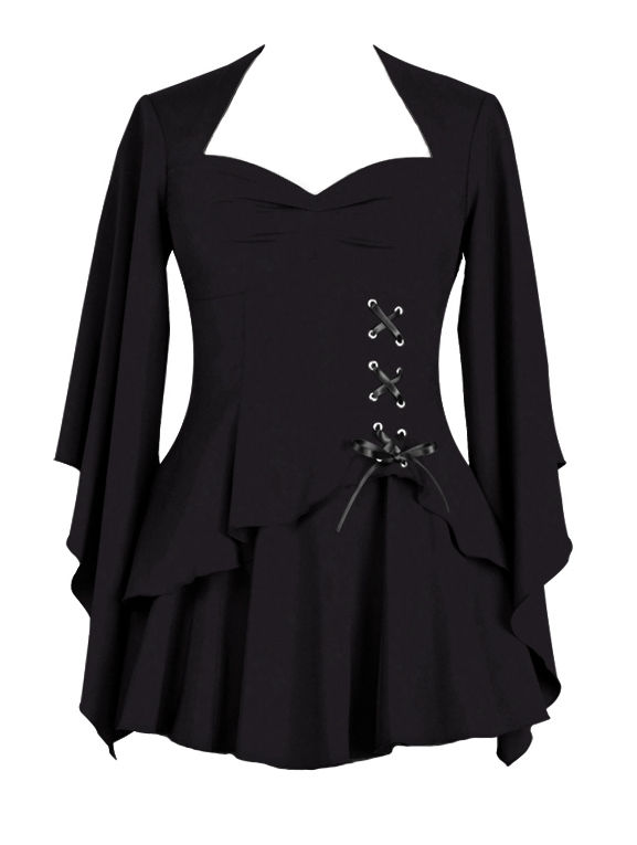 Plus Size Black Gothic Top with Side Corset Lacing