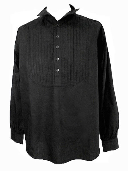 Men's Black Gothic Pin-Tuck Shirt