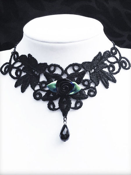 Black Lace Gothic Choker with Black Rose