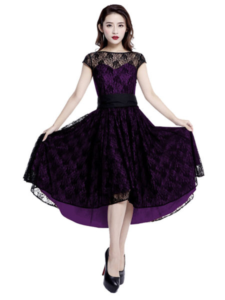 Black & Purple Lace Gothic Dress