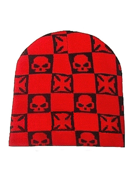 Black & Red Skull Beanie Hat