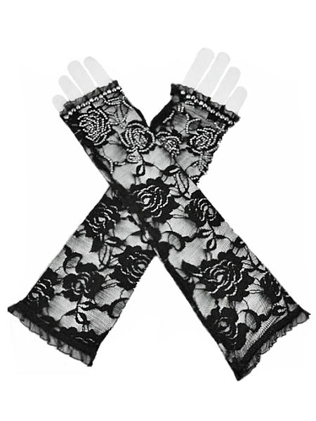 Black Rose Lace Gothic Gloves with Diamantes