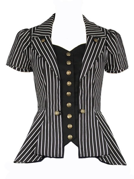 Steampunk Black and White Striped Top