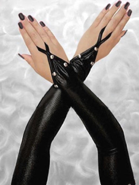 Sexy Black PVC Effect Studded Gloves