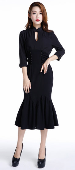 Plus Size Black Corporate Goth High Waisted Dress
