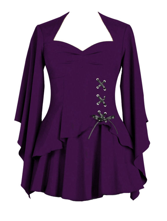 Purple Gothic Top with Side Corset Lacing