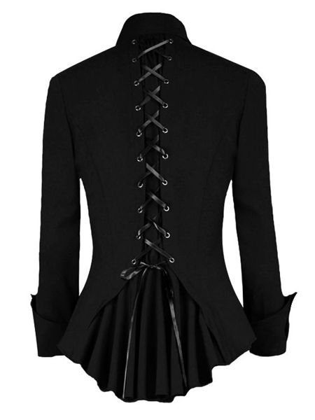 Black Gothic Jacket Top with Corset Back