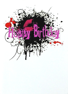 Gothic Punk Birthday Card - Ink Splat