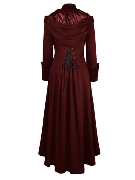 Long Burgundy Gothic Coat with Hood and Corset Back