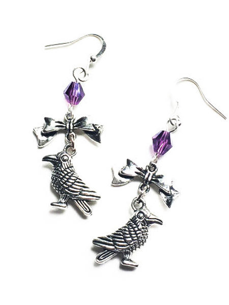 Silver Gothic Raven Earrings with Purple Crystal
