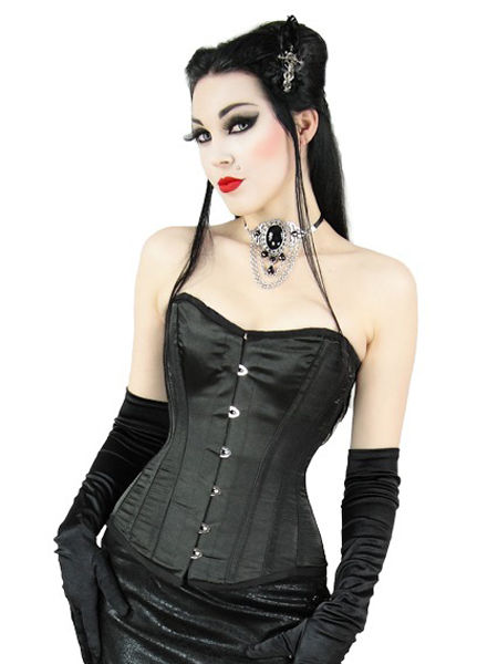 Sexy Black Satin Boned Corset