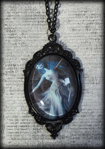 Large Gothic Glass Cameo Necklace - The Corpse Bride Moondance