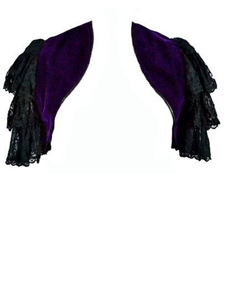 Purple Velvet Gothic Bolero Shrug with Lace Sleeves