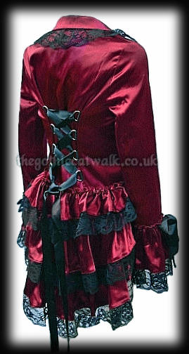 Gothic Burlesque Corset Bustle Jacket - Red Satin & Lace