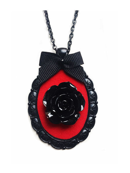 Gothic victorian black rose cameo necklace red velvet aloadofball