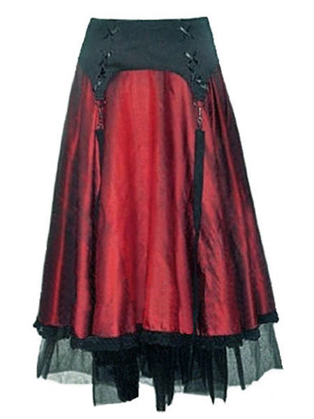Red & Black Long Gothic Skirt with Straps