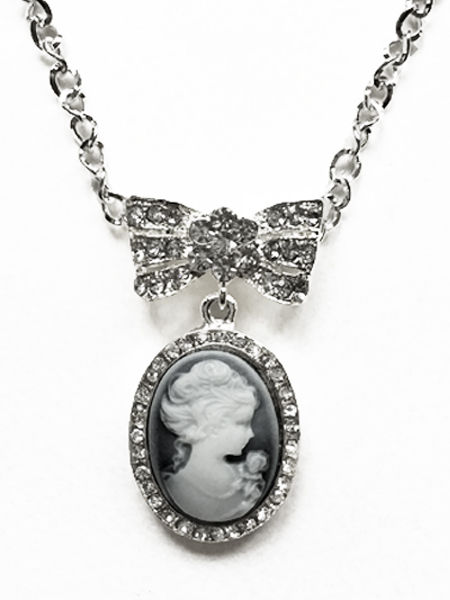 Cameo Necklace with Diamante Bow