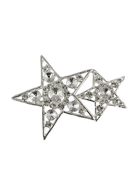 Double Stars Diamante Brooch