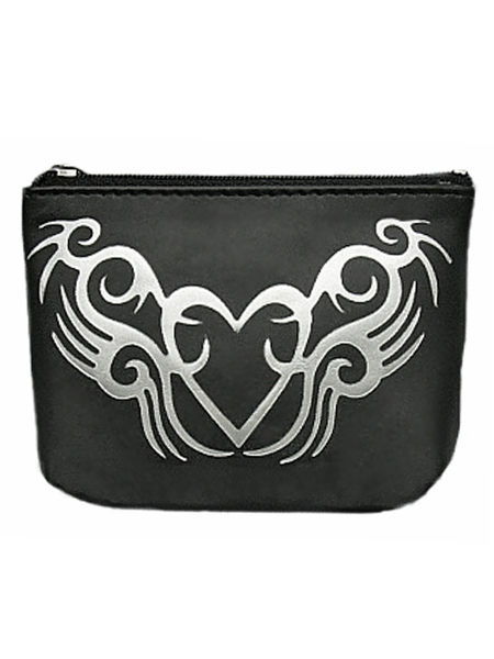 Gothic Coin Purse - Black with Silver Foil Heart #2