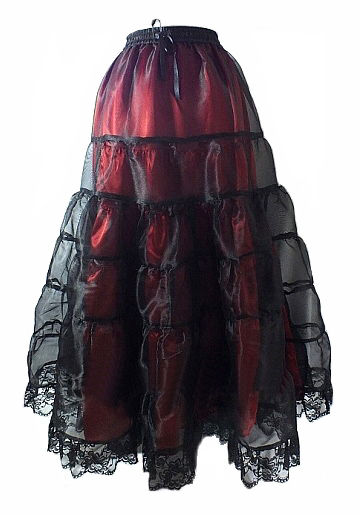 Gothic Fairytale Red Satin & Organza Skirt