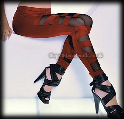 Red & Black Slashed Leggings