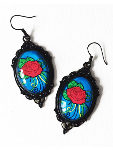 Glass Cameo Rockabilly Earrings - Red Rose Tattoo on Blue