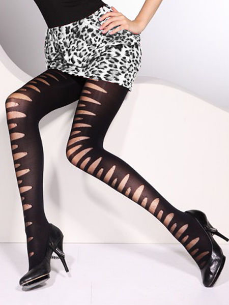 Black Slashed Effect Tights