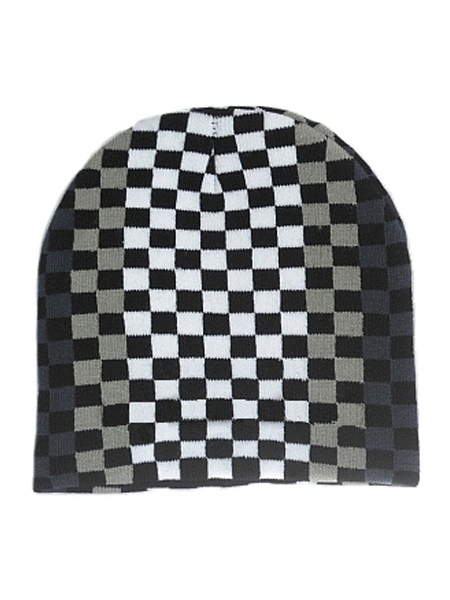 Black & Grey Checkered Beanie Hat