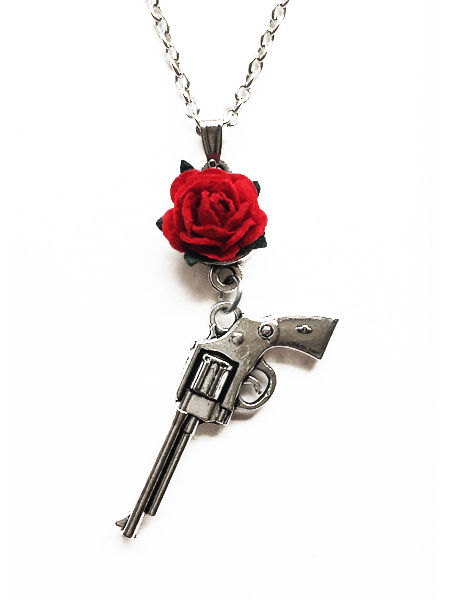 Guns n Roses Silver Necklace with Red Rose