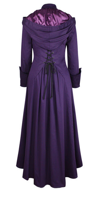 Long Purple Gothic Coat with Hood and Corset Back