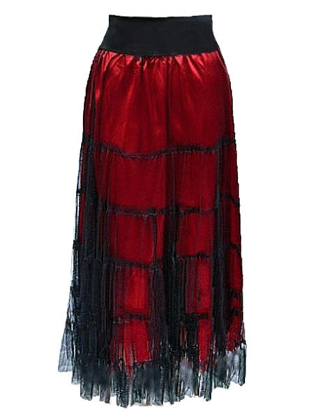 Red Satin and Black Net Long Gothic Skirt