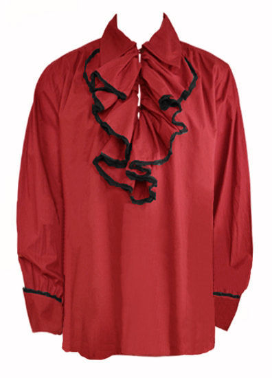 Men's Red Gothic Shirt with Ruffle Neck