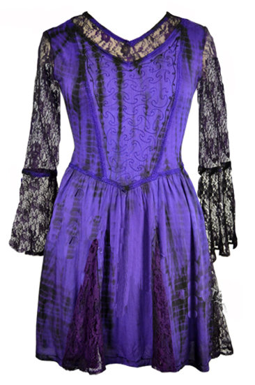 Purple Tie-Dye Short Tunic Dress