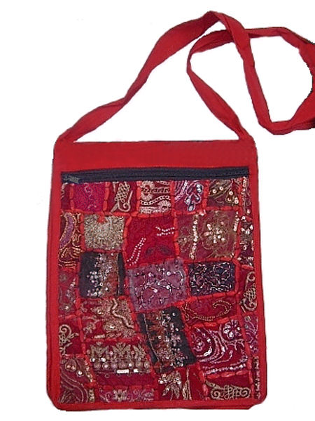 Red Sequinned & Beaded Gothic Hippy Patchwork Bag