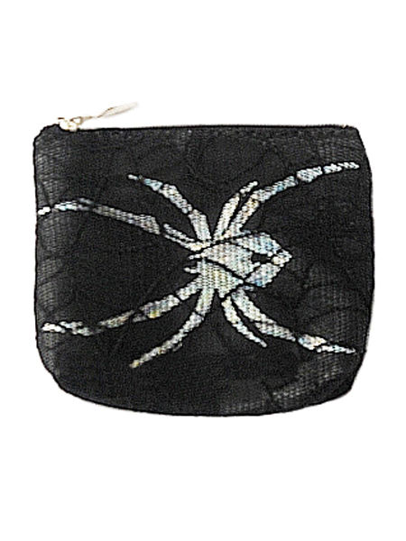 Black & Silver Gothic Coin Purse with Spider & Cobweb Lace