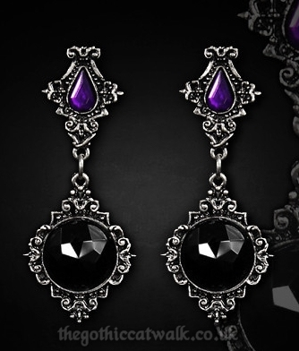 Gothic Victorian Pewter Lenore Earrings - Black