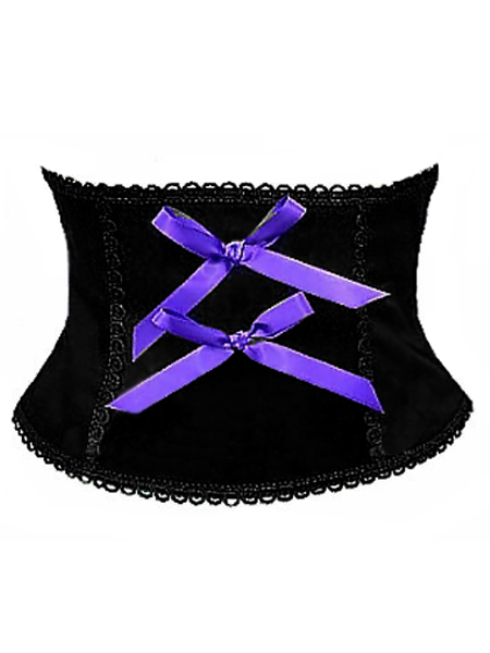 Black Gothic Corset Belt with Purple Bows