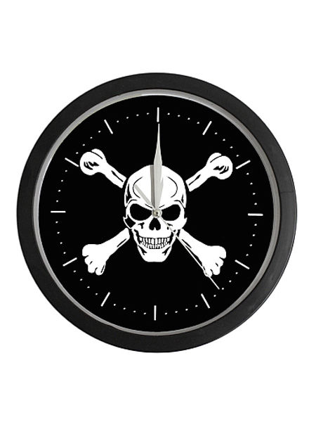 Gothic Punk Skull & Crossbones Wall Clock