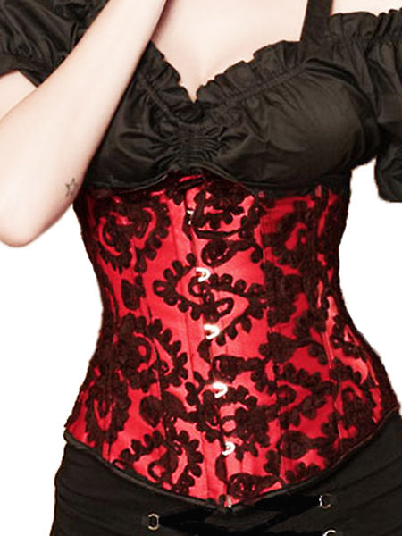 Red Satin & Black Lace Underbust Corset