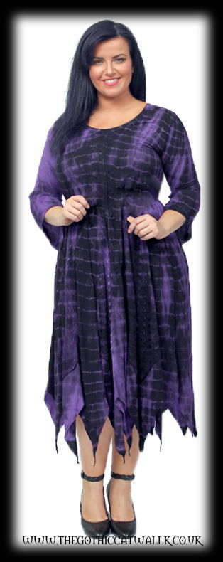 Plus Size Purple Embroidered Tie Dye Witchy Dress