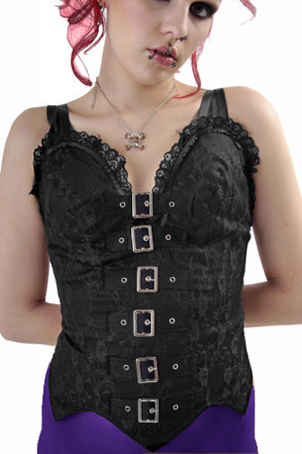 Black Lace Gothic Punk Bodice Top with Buckles