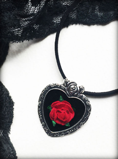 Gothic Victorian Red Rose Heart Necklace