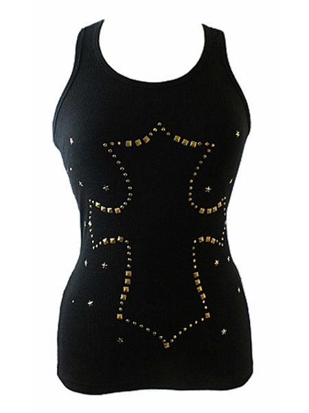 Black Gothic Vest Top with Studded Cross Design