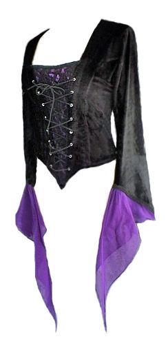 Black Velvet Gothic Top with Purple Chiffon Cuffs