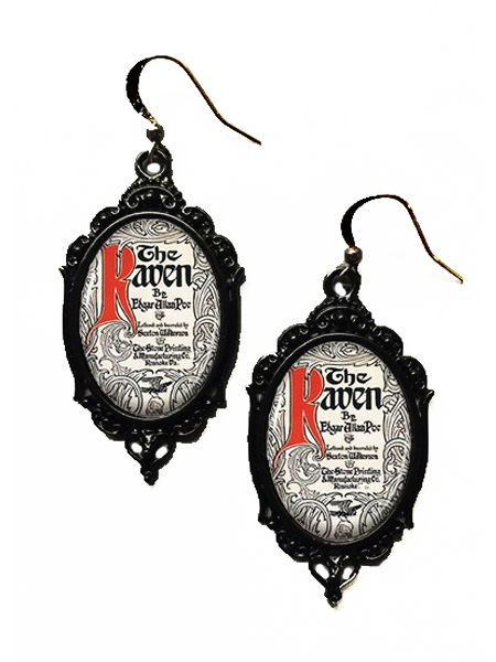 Glass Cameo Gothic Earrings - The Raven