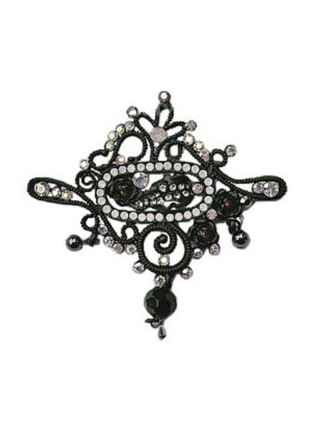 Victorian Gothic Black Filigree Brooch with Crystals