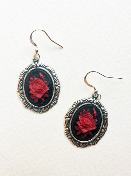 Red Rose Gothic Victorian Cameo Earrings