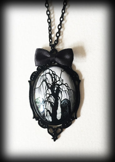 Gothic Necklace - Dead Tree Graveyard Scene