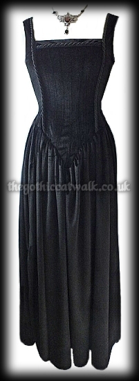 Long Black Velvet Gothic Medieval Dress